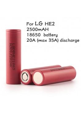 LG HE2 IMR 18650, 35amp, 2500mAh